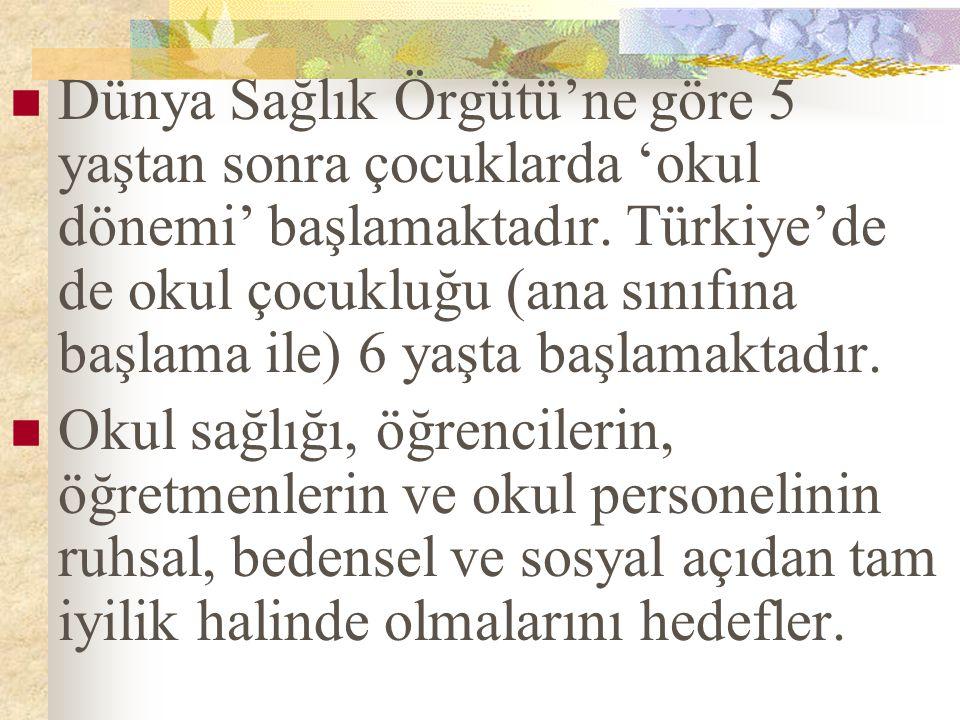 Dünya Sağlık Örgütü'ne göre 5 yaştan sonra çocuklarda 'okul dönemi' başlamaktadır. Türkiye'de de okul çocukluğu (ana sınıfına başlama ile) 6 yaşta başlamaktadır.