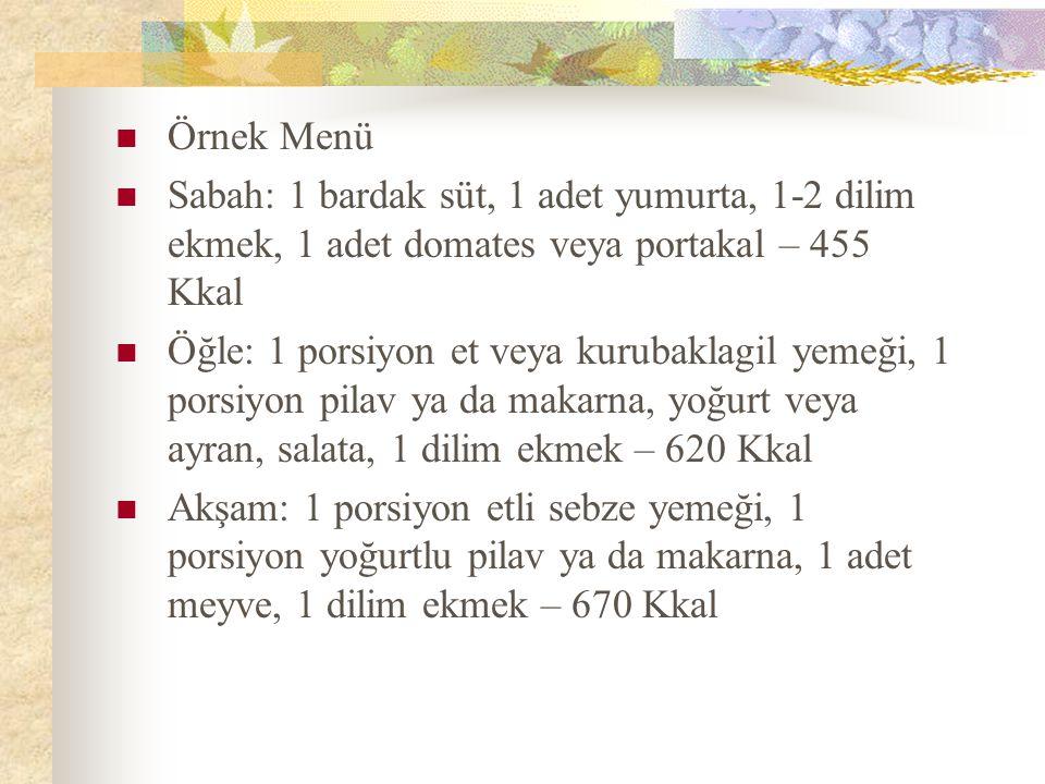 Örnek Menü Sabah: 1 bardak süt, 1 adet yumurta, 1-2 dilim ekmek, 1 adet domates veya portakal – 455 Kkal.
