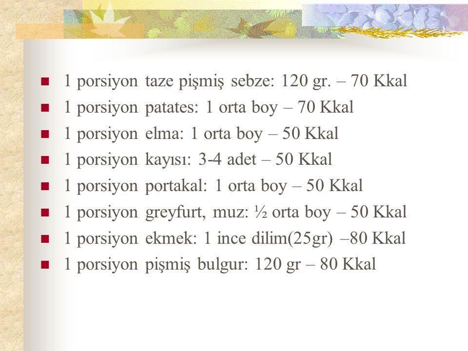 1 porsiyon taze pişmiş sebze: 120 gr. – 70 Kkal