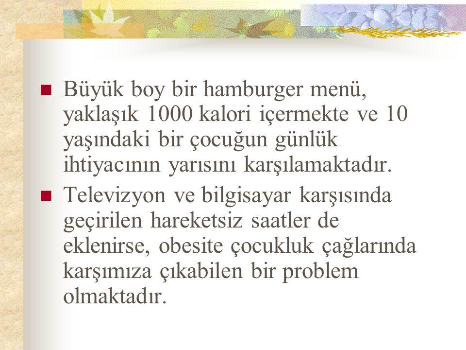 Büyük boy bir hamburger menü, yaklaşık 1000 kalori içermekte ve 10 yaşındaki bir çocuğun günlük ihtiyacının yarısını karşılamaktadır.