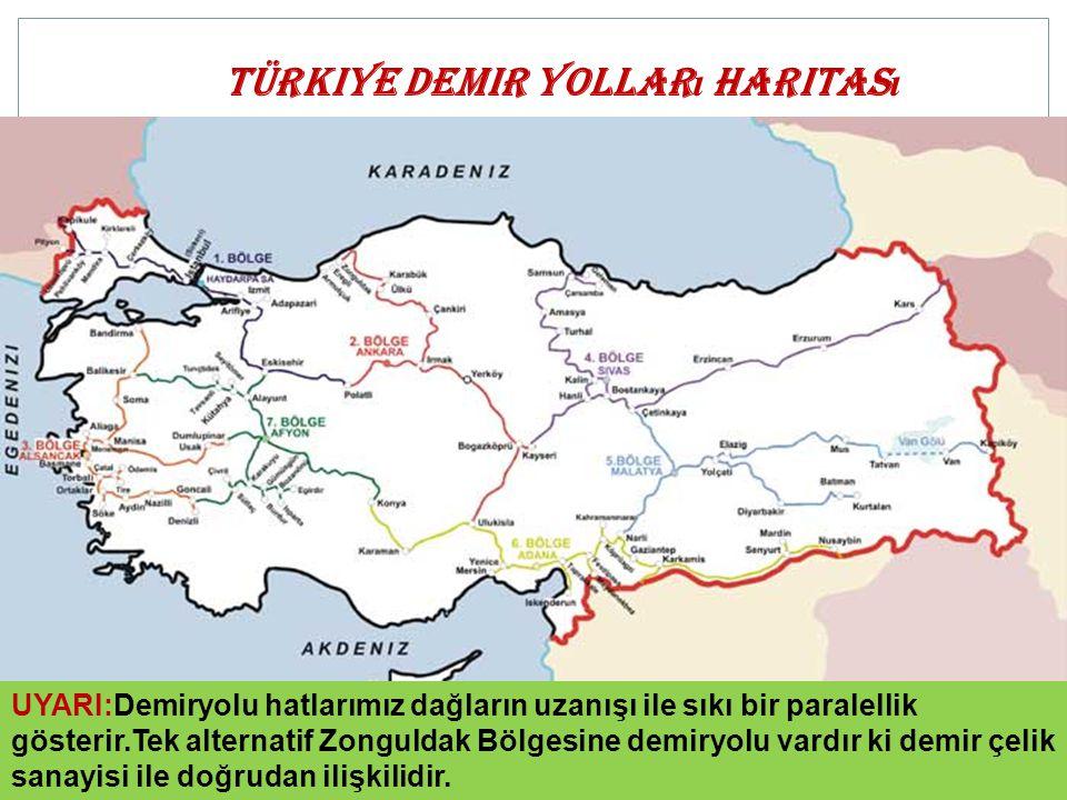 Türkiye demir yolları haritası
