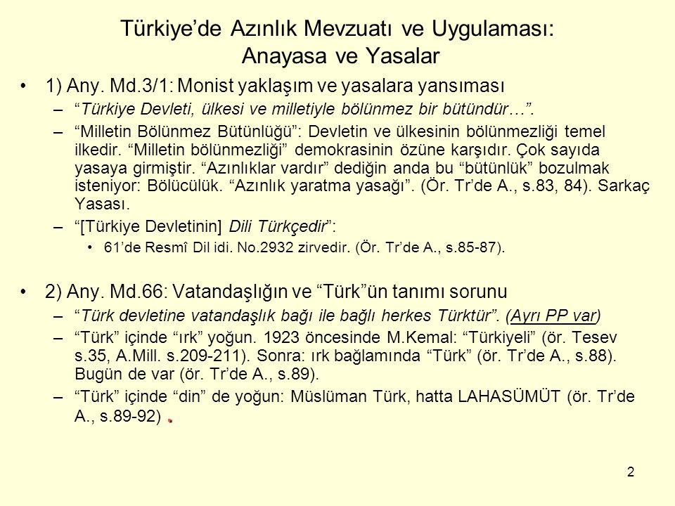 Türkiye'de Azınlık Mevzuatı ve Uygulaması: Anayasa ve Yasalar