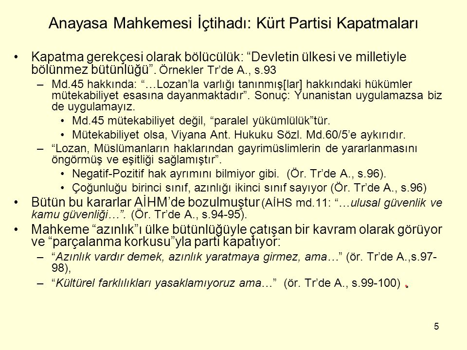 Anayasa Mahkemesi İçtihadı: Kürt Partisi Kapatmaları