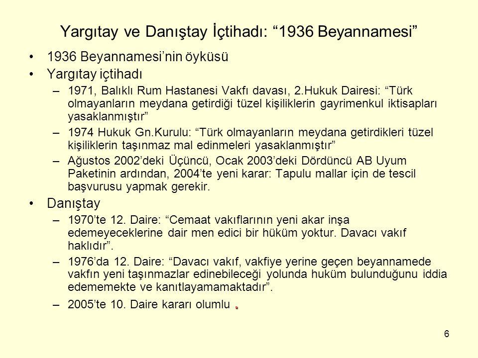 Yargıtay ve Danıştay İçtihadı: 1936 Beyannamesi