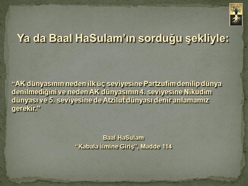 Ya da Baal HaSulam'ın sorduğu şekliyle: