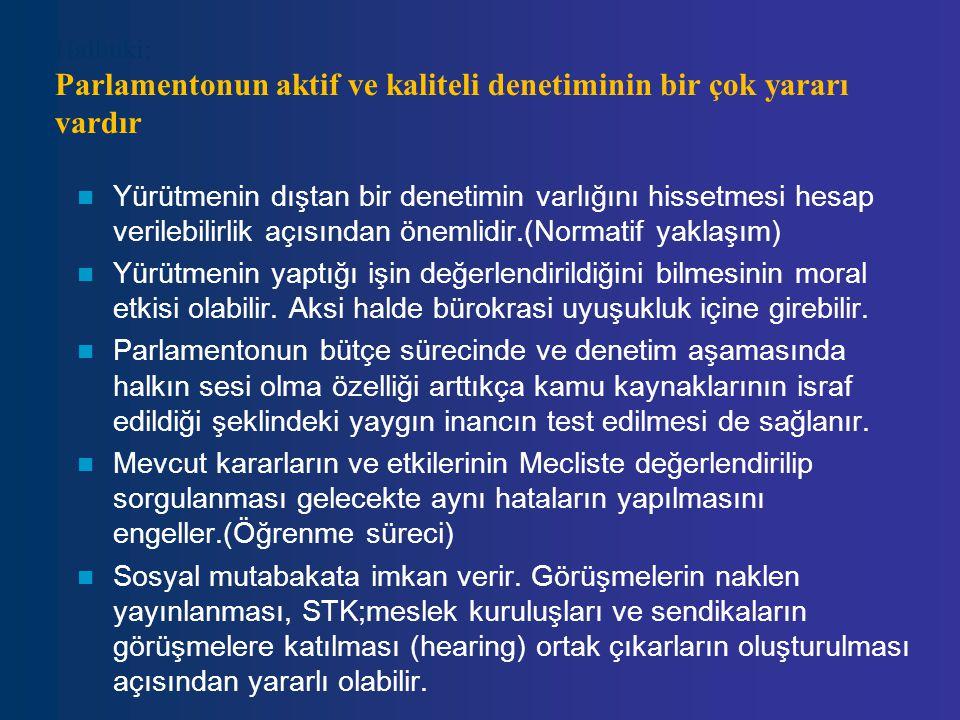 Halbuki; Parlamentonun aktif ve kaliteli denetiminin bir çok yararı vardır