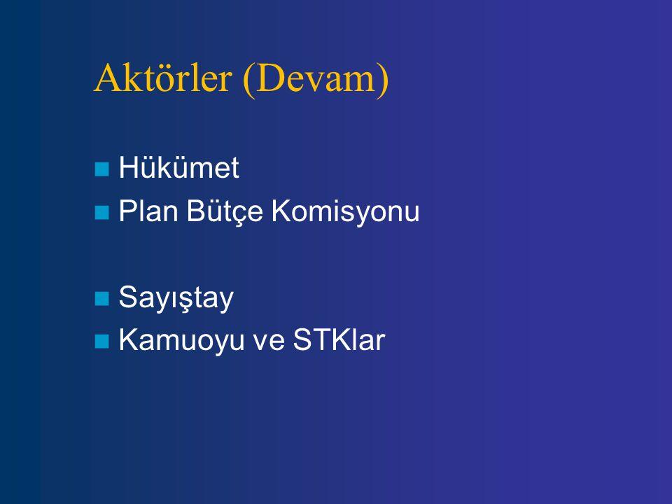 Aktörler (Devam) Hükümet Plan Bütçe Komisyonu Sayıştay