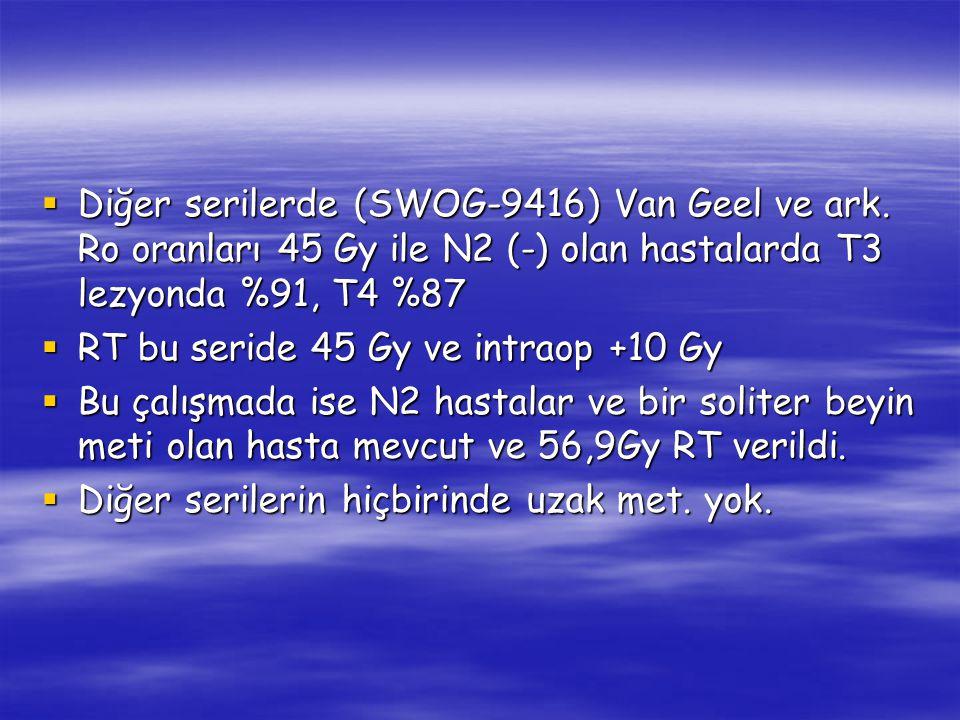 Diğer serilerde (SWOG-9416) Van Geel ve ark