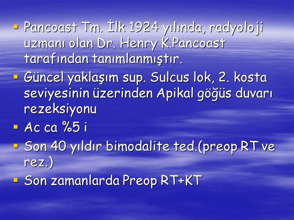 Pancoast Tm. İlk 1924 yılında, radyoloji uzmanı olan Dr. Henry K