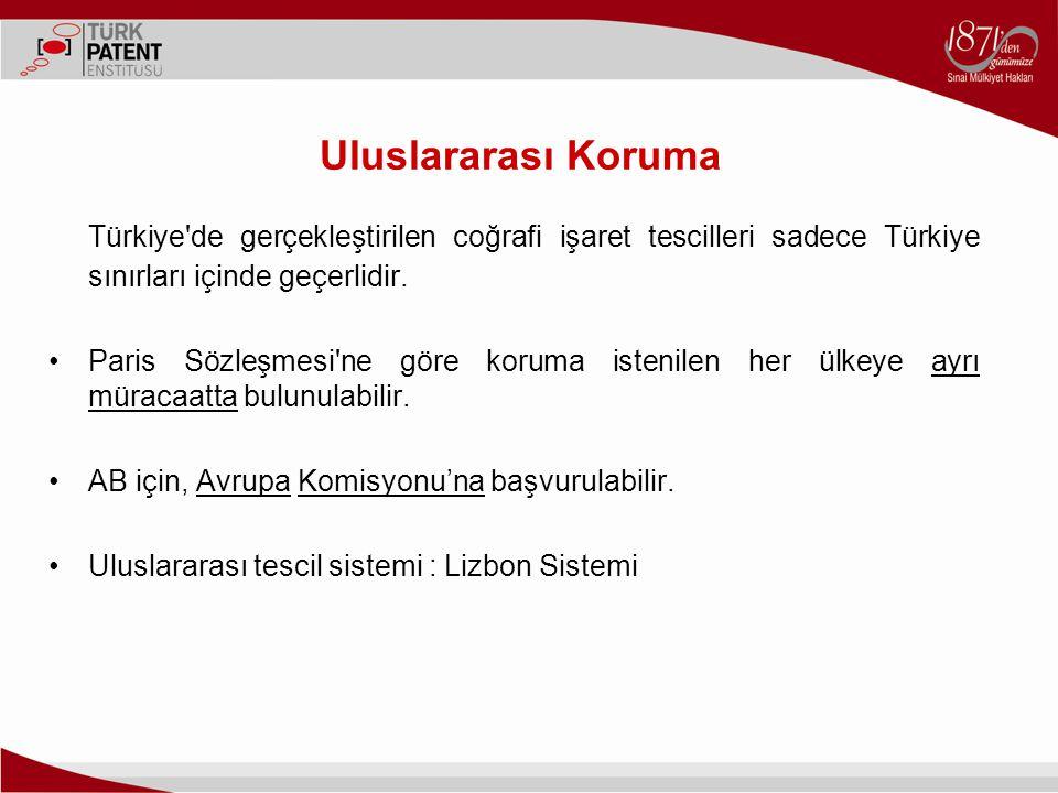 Uluslararası Koruma Türkiye de gerçekleştirilen coğrafi işaret tescilleri sadece Türkiye sınırları içinde geçerlidir.