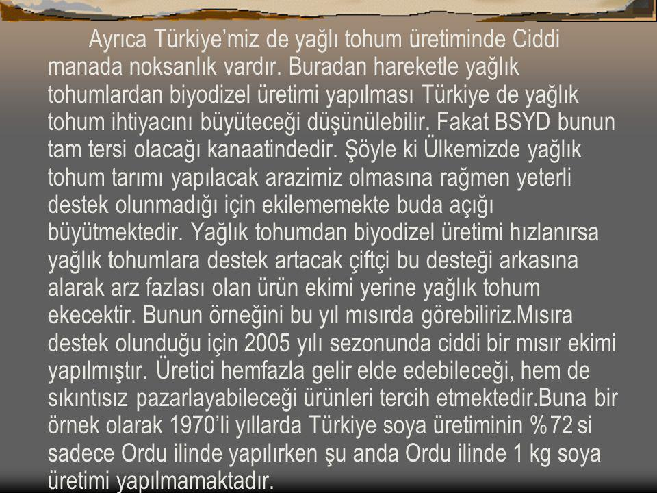 Ayrıca Türkiye'miz de yağlı tohum üretiminde Ciddi manada noksanlık vardır.