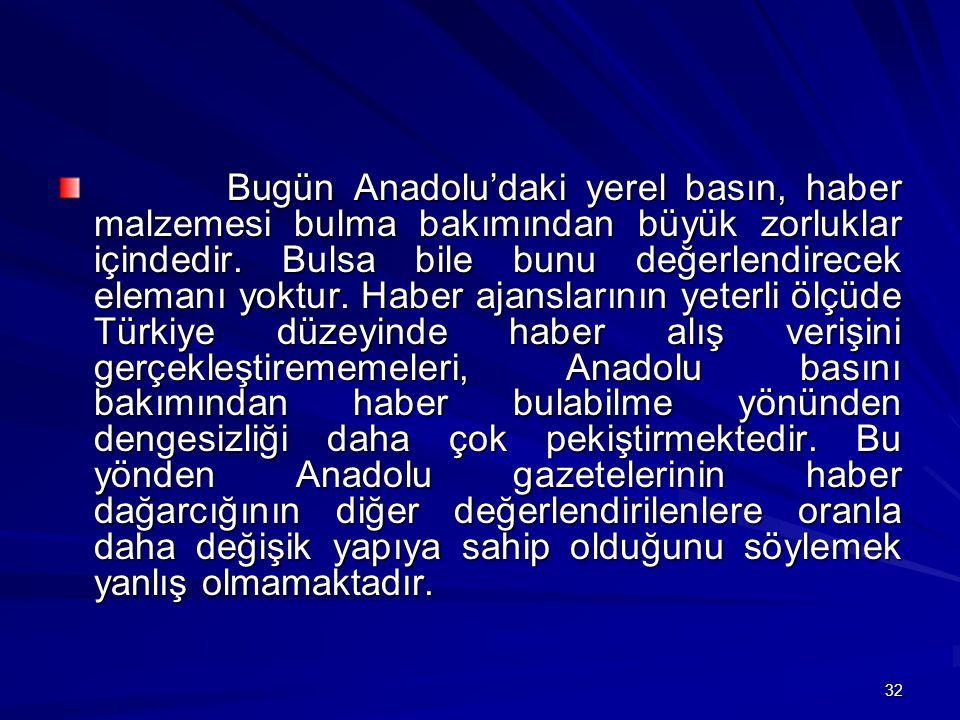Bugün Anadolu'daki yerel basın, haber malzemesi bulma bakımından büyük zorluklar içindedir.