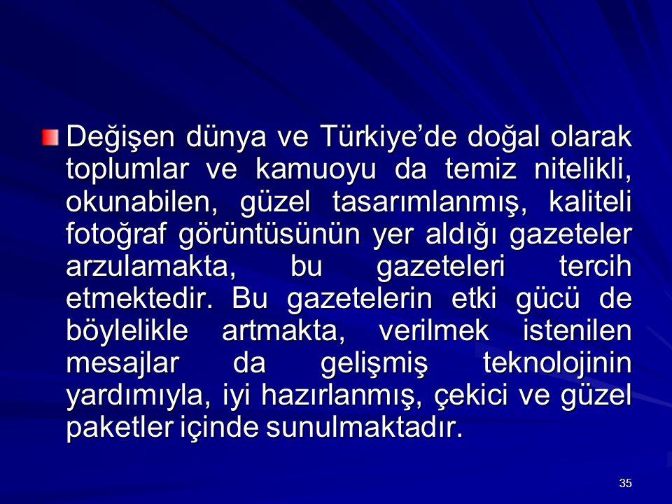 Değişen dünya ve Türkiye'de doğal olarak toplumlar ve kamuoyu da temiz nitelikli, okunabilen, güzel tasarımlanmış, kaliteli fotoğraf görüntüsünün yer aldığı gazeteler arzulamakta, bu gazeteleri tercih etmektedir.