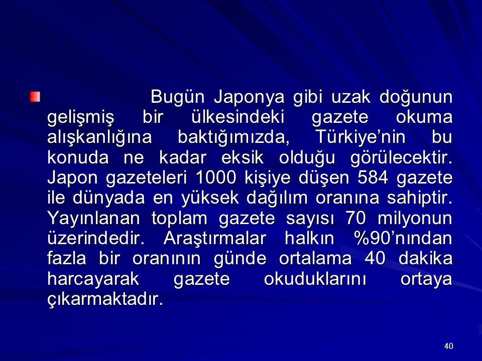 Bugün Japonya gibi uzak doğunun gelişmiş bir ülkesindeki gazete okuma alışkanlığına baktığımızda, Türkiye'nin bu konuda ne kadar eksik olduğu görülecektir.