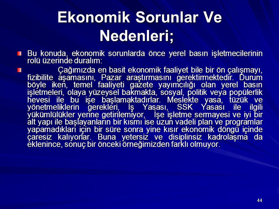 Ekonomik Sorunlar Ve Nedenleri;
