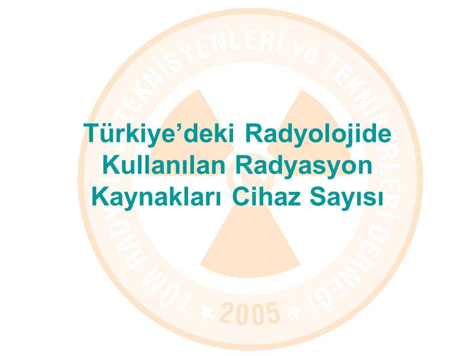 Türkiye'deki Radyolojide Kullanılan Radyasyon Kaynakları Cihaz Sayısı