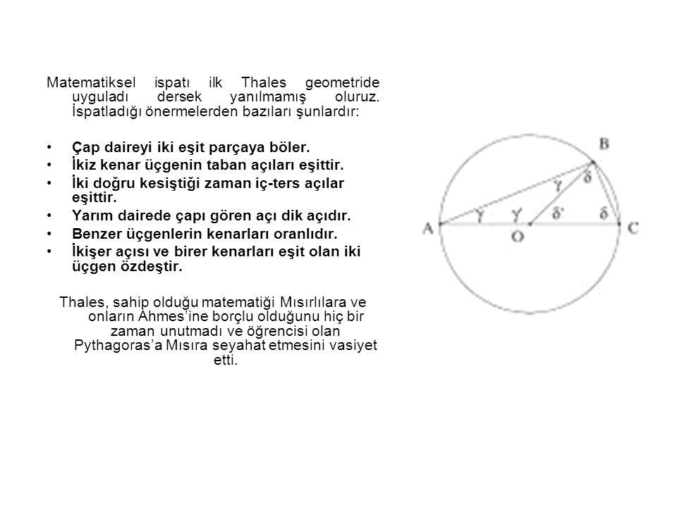 Matematiksel ispatı ilk Thales geometride uyguladı dersek yanılmamış oluruz. İspatladığı önermelerden bazıları şunlardır: