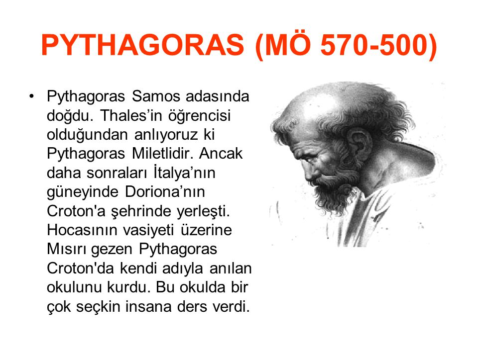 PYTHAGORAS (MÖ 570‑500)