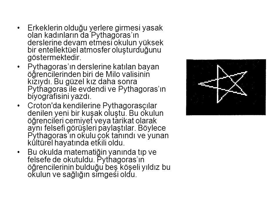 Erkeklerin olduğu yerlere girmesi yasak olan kadınların da Pythagoras'ın derslerine devam etmesi okulun yüksek bir entellektüel atmosfer oluşturduğunu göstermektedir.