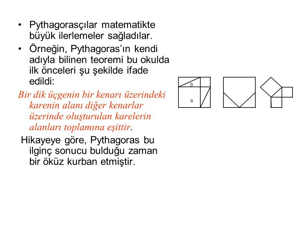Pythagorasçılar matematikte büyük ilerlemeler sağladılar.