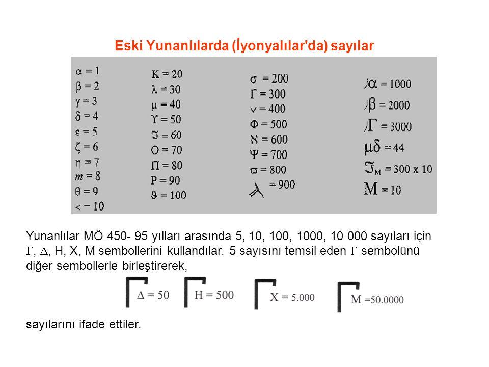 Eski Yunanlılarda (İyonyalılar da) sayılar