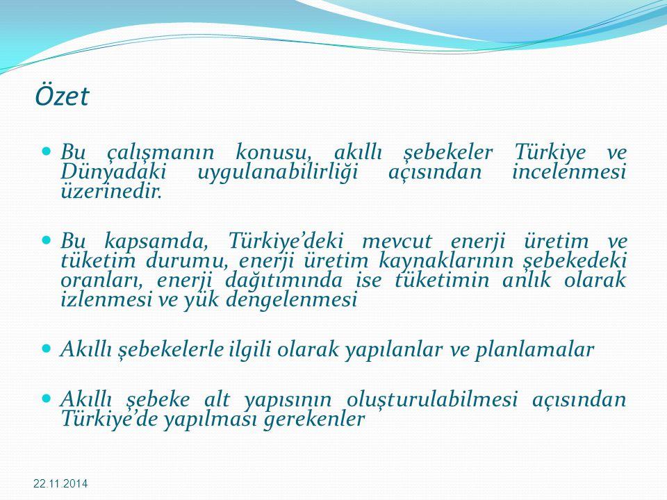 Özet Bu çalışmanın konusu, akıllı şebekeler Türkiye ve Dünyadaki uygulanabilirliği açısından incelenmesi üzerinedir.