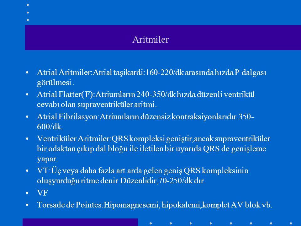 Aritmiler Atrial Aritmiler:Atrial taşikardi:160-220/dk arasında hızda P dalgası görülmesi .