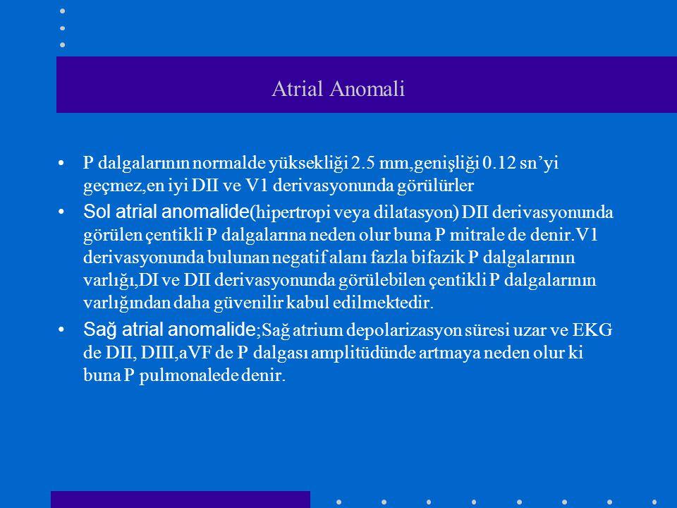 Atrial Anomali P dalgalarının normalde yüksekliği 2.5 mm,genişliği 0.12 sn'yi geçmez,en iyi DII ve V1 derivasyonunda görülürler.