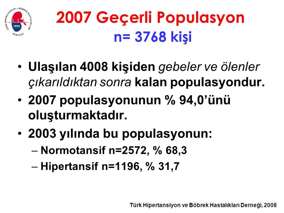 2007 Geçerli Populasyon n= 3768 kişi