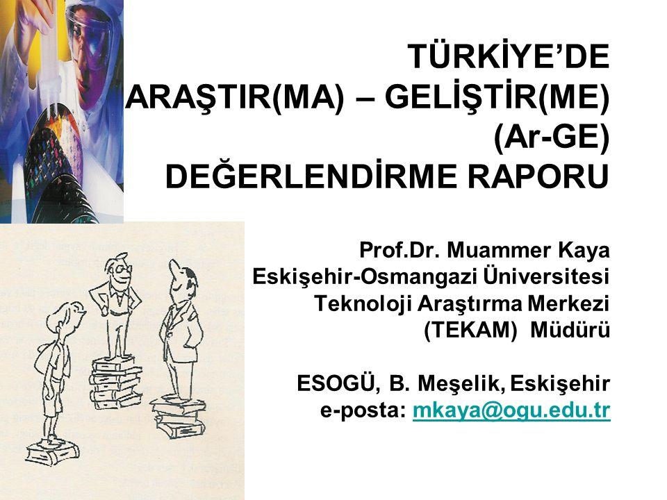 TÜRKİYE'DE ARAŞTIR(MA) – GELİŞTİR(ME) (Ar-GE) DEĞERLENDİRME RAPORU Prof.Dr.