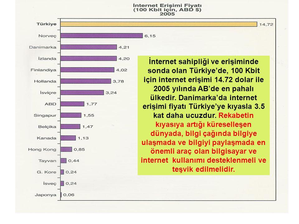 İnternet sahipliği ve erişiminde sonda olan Türkiye'de, 100 Kbit için internet erişimi 14.72 dolar ile 2005 yılında AB'de en pahalı ülkedir.
