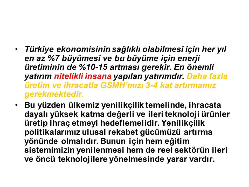 Türkiye ekonomisinin sağlıklı olabilmesi için her yıl en az %7 büyümesi ve bu büyüme için enerji üretiminin de %10-15 artması gerekir. En önemli yatırım nitelikli insana yapılan yatırımdır. Daha fazla üretim ve ihracatla GSMH'mızı 3-4 kat artırmamız gerekmektedir.