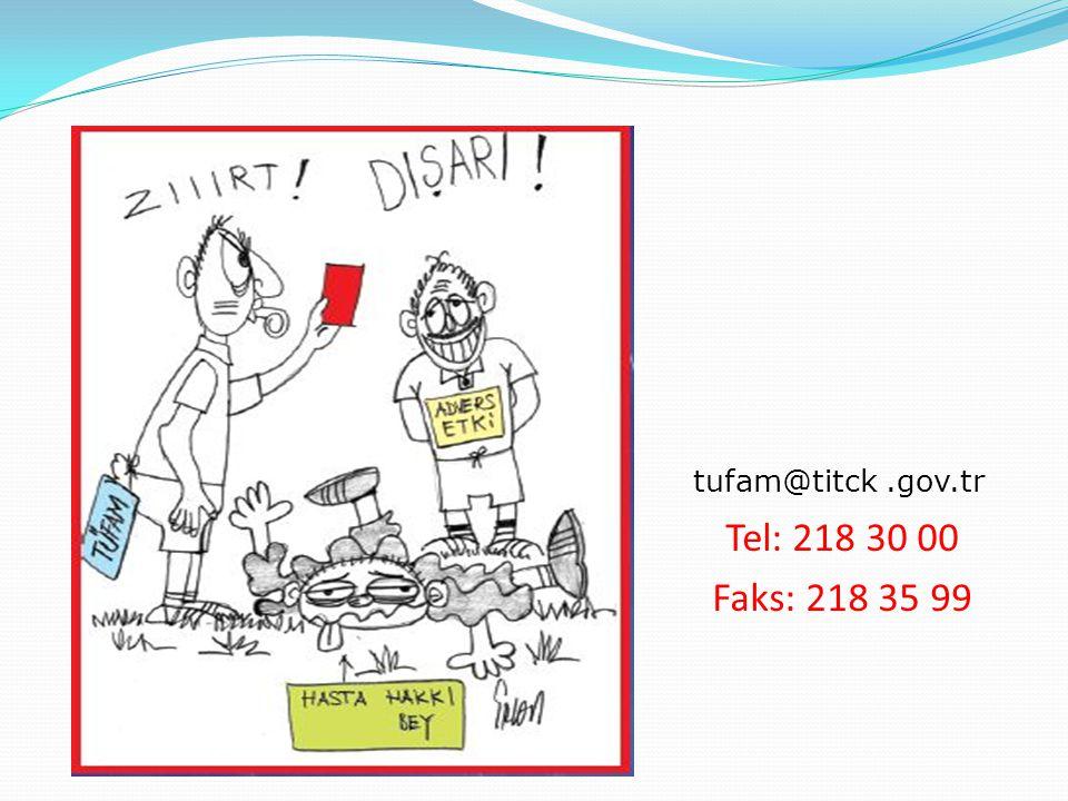tufam@titck .gov.tr Tel: 218 30 00 Faks: 218 35 99
