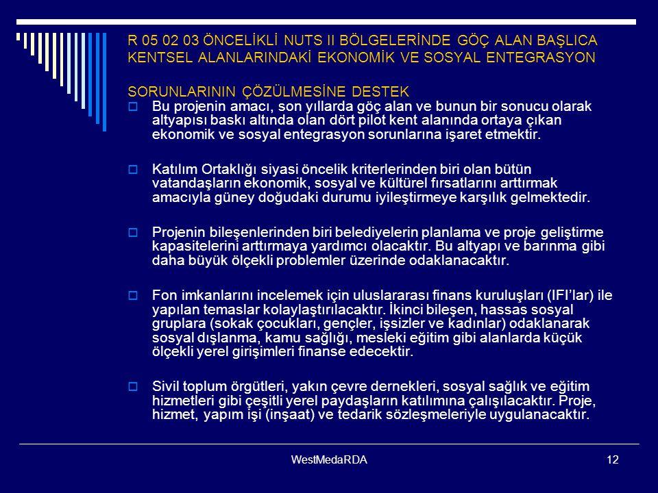 R 05 02 03 ÖNCELİKLİ NUTS II BÖLGELERİNDE GÖÇ ALAN BAŞLICA KENTSEL ALANLARINDAKİ EKONOMİK VE SOSYAL ENTEGRASYON SORUNLARININ ÇÖZÜLMESİNE DESTEK