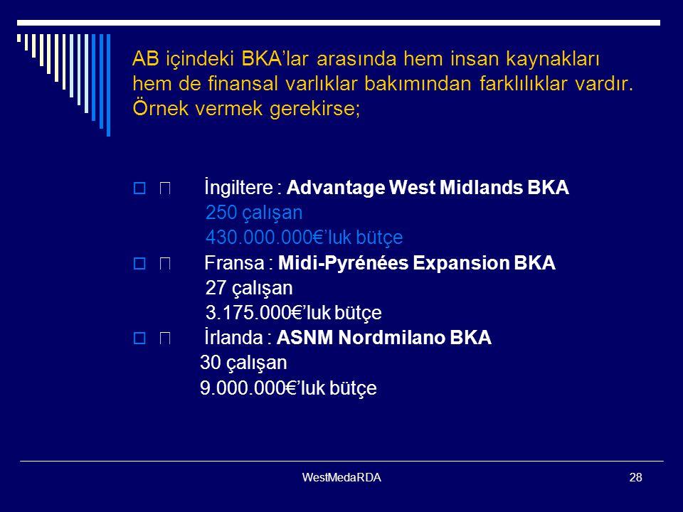AB içindeki BKA'lar arasında hem insan kaynakları hem de finansal varlıklar bakımından farklılıklar vardır. Örnek vermek gerekirse;