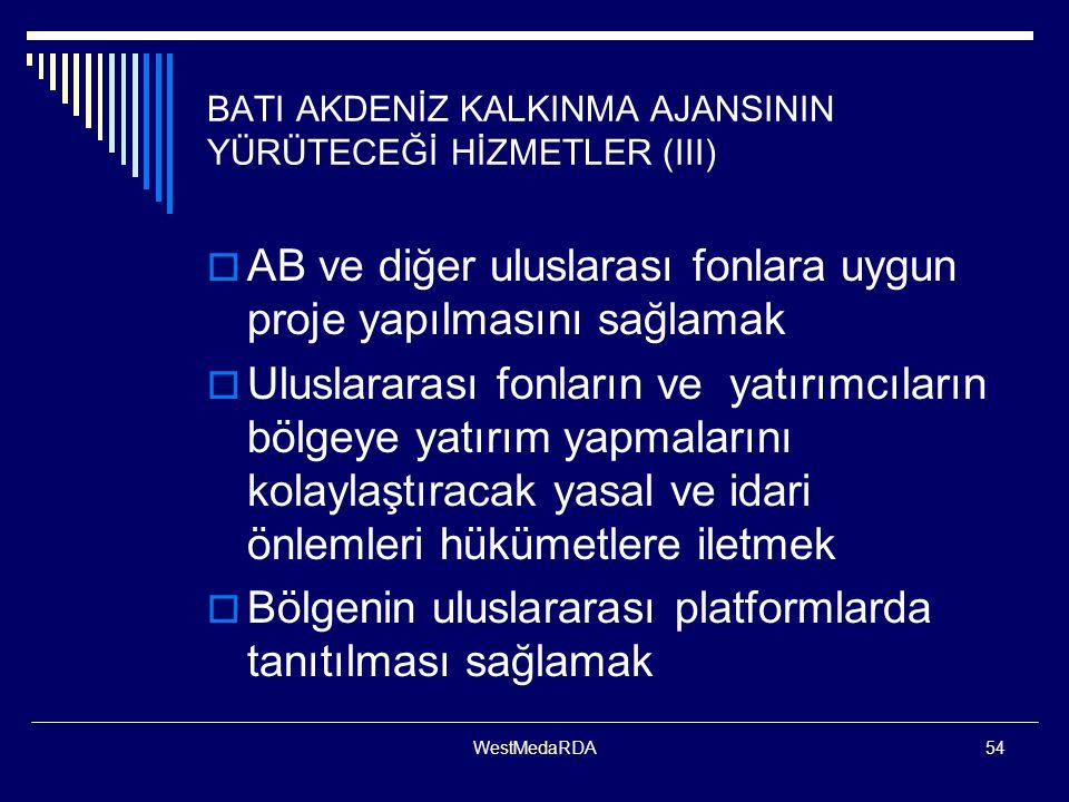 BATI AKDENİZ KALKINMA AJANSININ YÜRÜTECEĞİ HİZMETLER (III)
