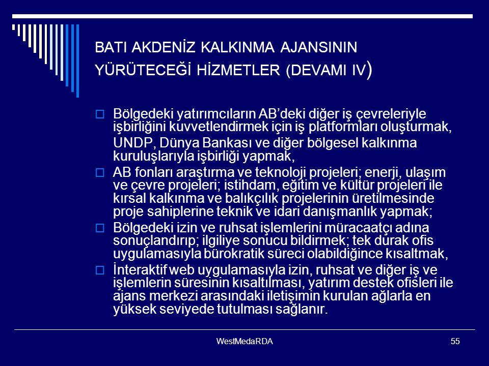 BATI AKDENİZ KALKINMA AJANSININ YÜRÜTECEĞİ HİZMETLER (DEVAMI IV)