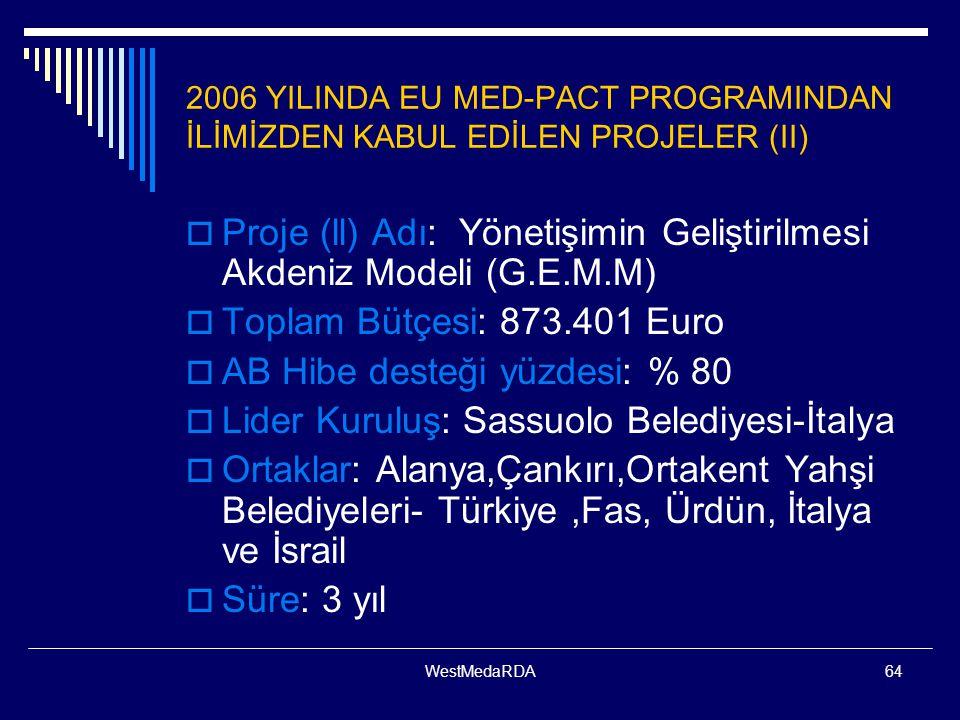 Proje (ll) Adı: Yönetişimin Geliştirilmesi Akdeniz Modeli (G.E.M.M)