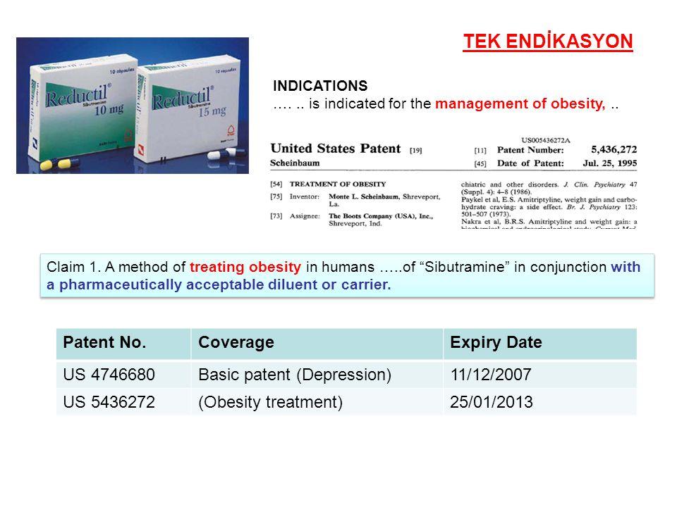 TEK ENDİKASYON Patent No. Coverage Expiry Date US 4746680
