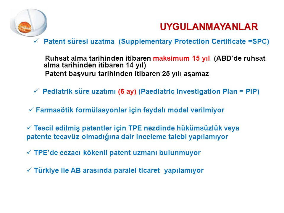 UYGULANMAYANLAR Patent süresi uzatma (Supplementary Protection Certificate =SPC)