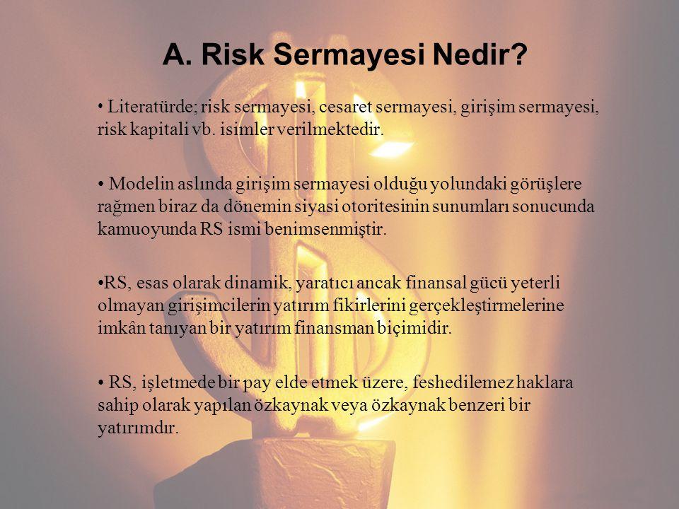 A. Risk Sermayesi Nedir Literatürde; risk sermayesi, cesaret sermayesi, girişim sermayesi, risk kapitali vb. isimler verilmektedir.