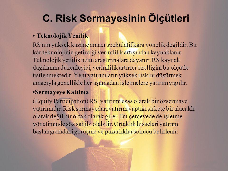 C. Risk Sermayesinin Ölçütleri