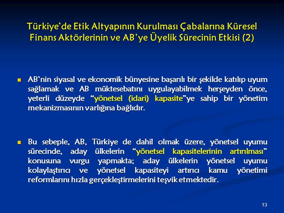 Türkiye'de Etik Altyapının Kurulması Çabalarına Küresel Finans Aktörlerinin ve AB'ye Üyelik Sürecinin Etkisi (2)