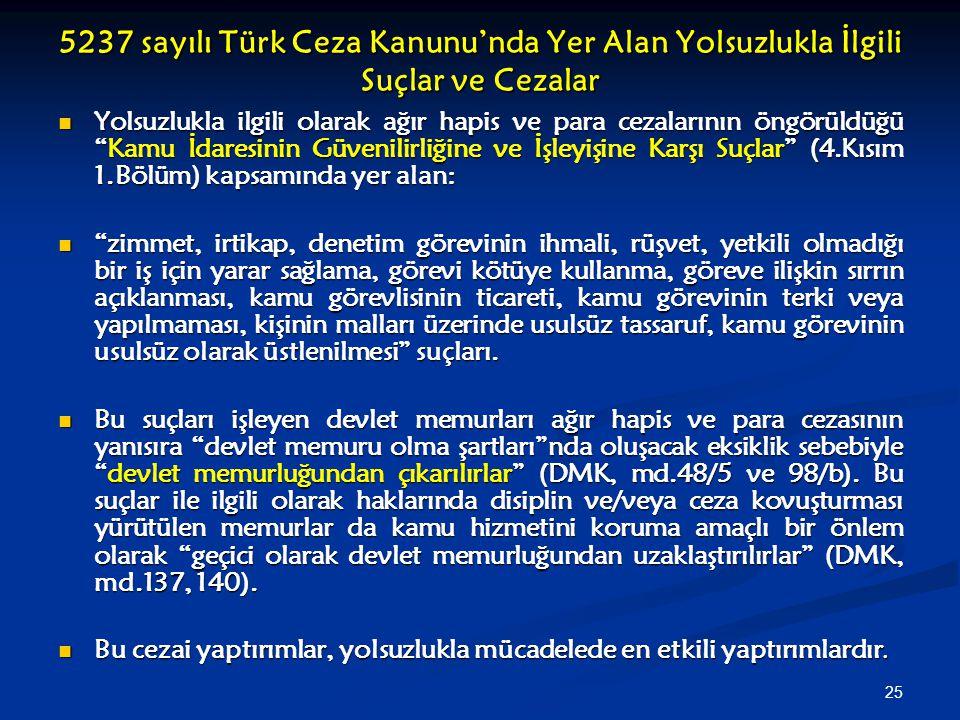 5237 sayılı Türk Ceza Kanunu'nda Yer Alan Yolsuzlukla İlgili Suçlar ve Cezalar