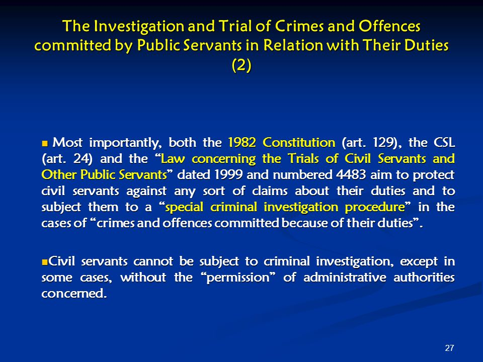 The Investigation and Trial of Crimes and Offences committed by Public Servants in Relation with Their Duties (2)