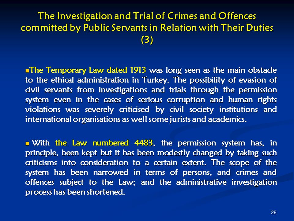 The Investigation and Trial of Crimes and Offences committed by Public Servants in Relation with Their Duties (3)