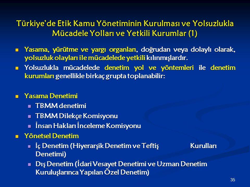 Türkiye'de Etik Kamu Yönetiminin Kurulması ve Yolsuzlukla Mücadele Yolları ve Yetkili Kurumlar (1)