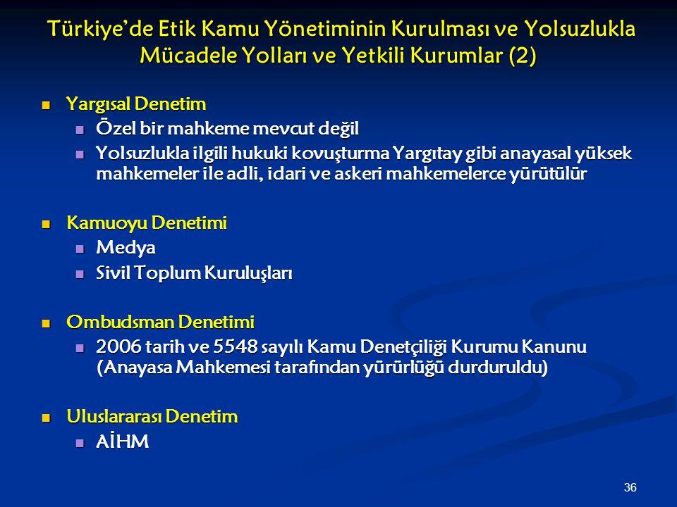 Türkiye'de Etik Kamu Yönetiminin Kurulması ve Yolsuzlukla Mücadele Yolları ve Yetkili Kurumlar (2)