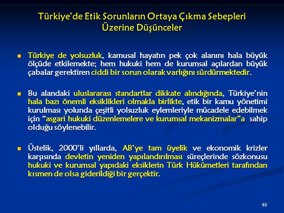 Türkiye'de Etik Sorunların Ortaya Çıkma Sebepleri Üzerine Düşünceler
