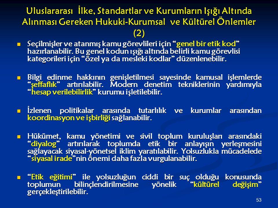 Uluslararası İlke, Standartlar ve Kurumların Işığı Altında Alınması Gereken Hukuki-Kurumsal ve Kültürel Önlemler (2)